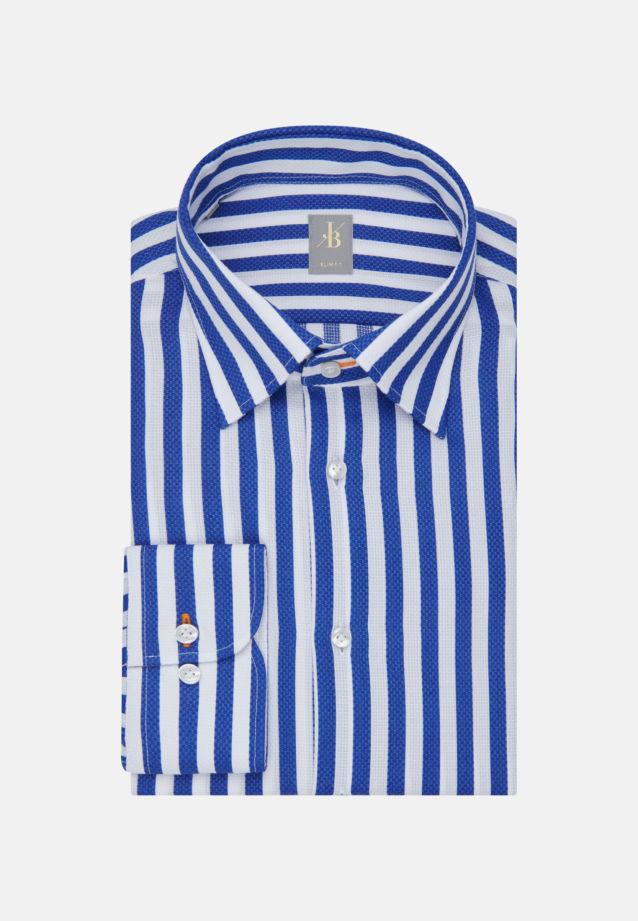 Struktur Business Hemd in Slim Fit mit Under-Button-Down-Kragen in Mittelblau |  Jacques Britt Onlineshop