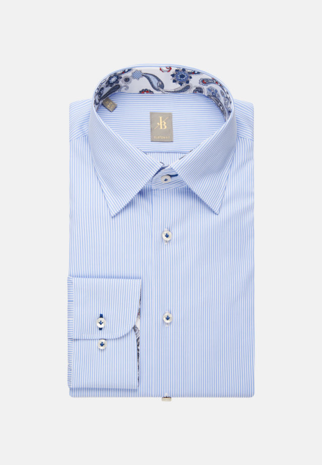 Popeline Business Hemd in Custom Fit mit Under-Button-Down-Kragen in Hellblau |  Jacques Britt Onlineshop