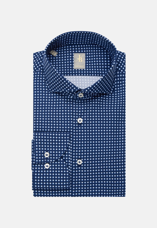 Popeline Business Hemd in Custom Fit mit Haifischkragen in Dunkelblau    Jacques Britt Onlineshop