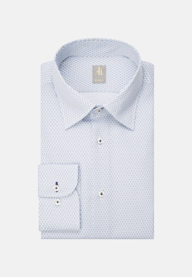 Struktur Business Hemd in Custom Fit mit Under-Button-Down-Kragen in Hellblau |  Jacques Britt Onlineshop