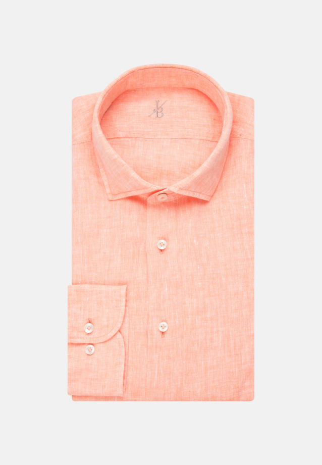 Leinen Smart Casual Hemd in Perfect Fit mit Haifischkragen in Orange |  Jacques Britt Onlineshop