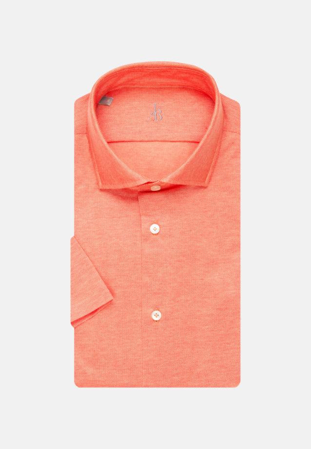 Kurzarm Jersey Smart Casual Hemd in Perfect Fit mit Haifischkragen in Orange    Jacques Britt Onlineshop