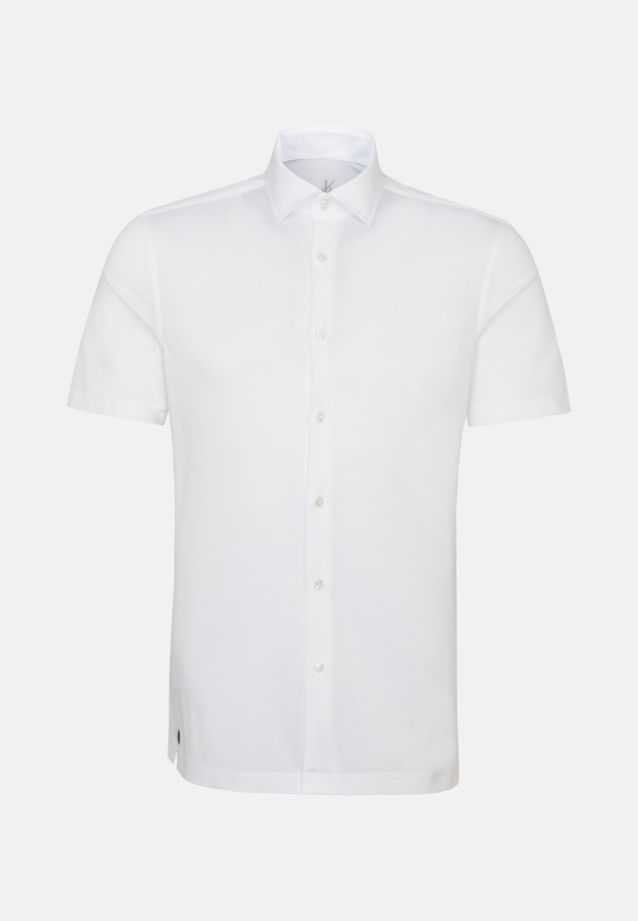 Kurzarm Jersey Smart Casual Hemd in Perfect Fit mit Haifischkragen in Weiß    Jacques Britt Onlineshop