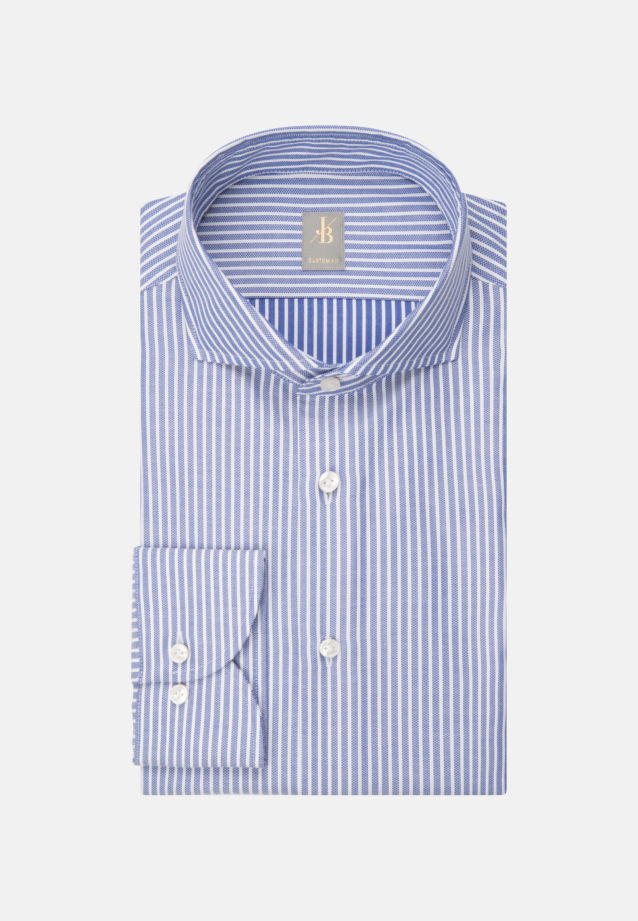 Dobby Business Hemd in Custom Fit mit Haifischkragen in Mittelblau |  Jacques Britt Onlineshop