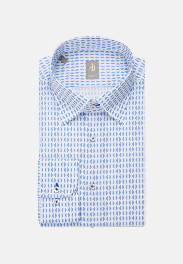 Popeline Business Hemd in Custom Fit mit Under-Button-Down-Kragen in Mittelblau |  Jacques Britt Onlineshop
