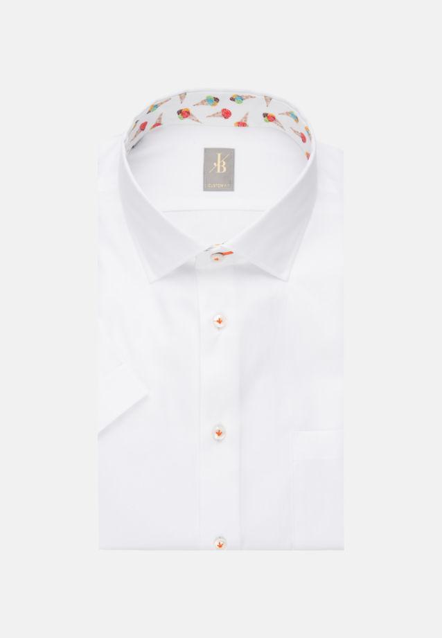 Kurzarm Twill Business Hemd in Custom Fit mit Kentkragen in Weiß    Jacques Britt Onlineshop