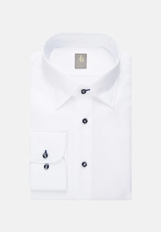 Struktur Business Hemd in Slim Fit mit Under-Button-Down-Kragen in Weiß |  Jacques Britt Onlineshop