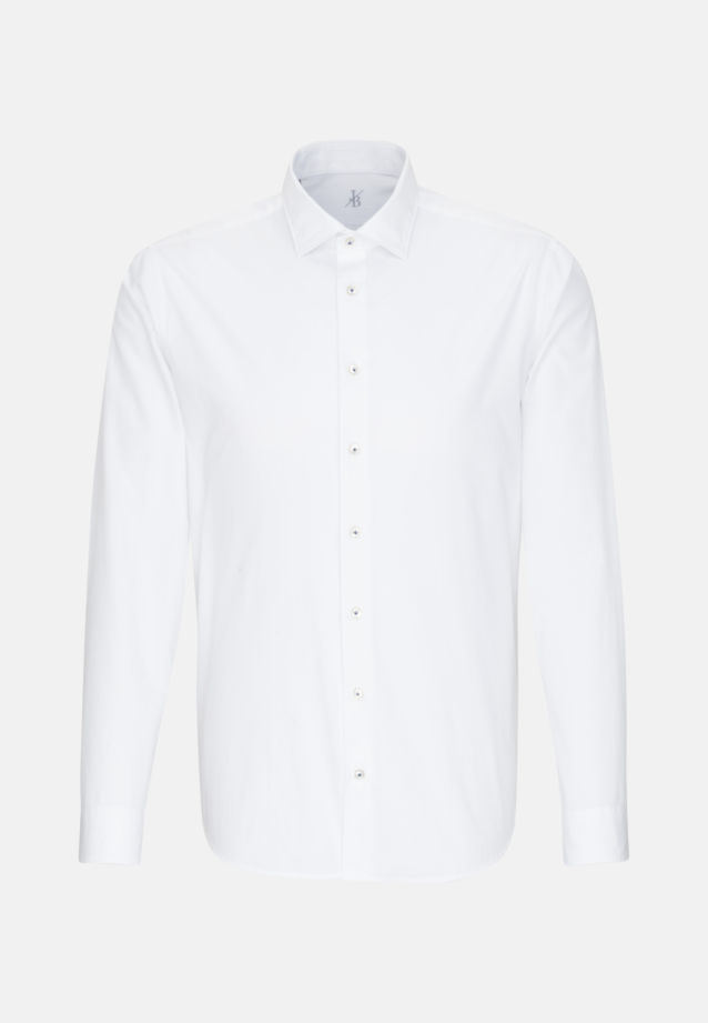 Popeline Smart Casual Hemd in Perfect Fit mit Kentkragen in Weiß |  Jacques Britt Onlineshop