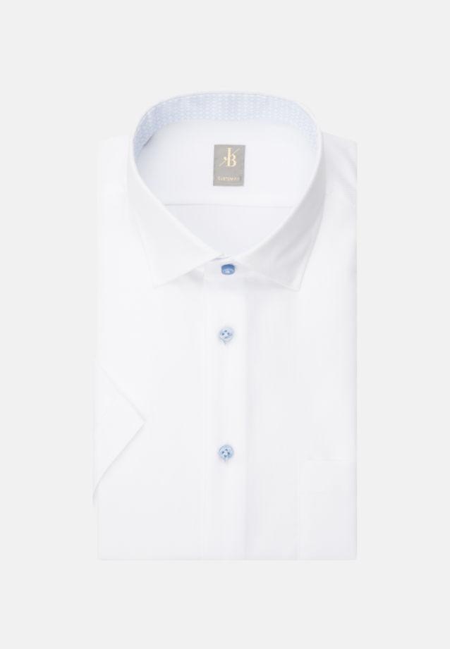 Kurzarm Struktur Business Hemd in Custom Fit mit Kentkragen in Weiß    Jacques Britt Onlineshop