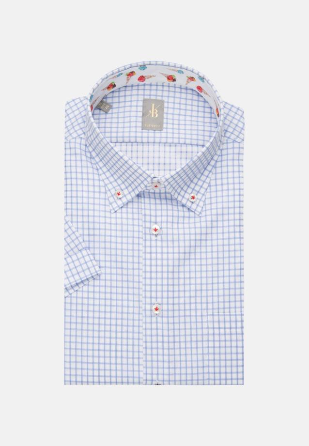 Kurzarm Twill Business Hemd in Custom Fit mit Button-Down-Kragen in Hellblau |  Jacques Britt Onlineshop