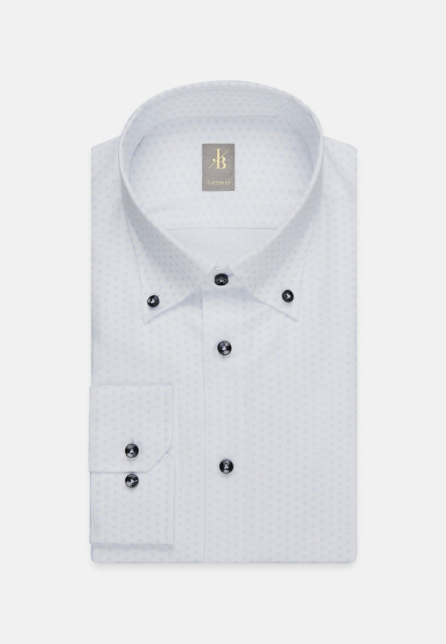 Struktur Business Hemd in Custom Fit mit Button-Down-Kragen in Hellblau |  Jacques Britt Onlineshop