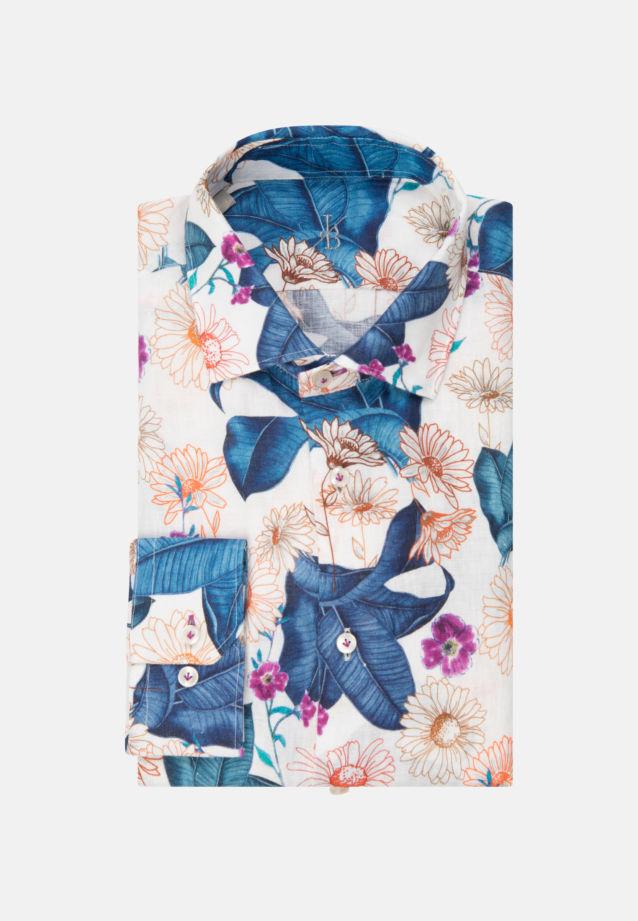 Leinen Smart Casual Hemd in Perfect Fit mit Kentkragen in Mittelblau |  Jacques Britt Onlineshop