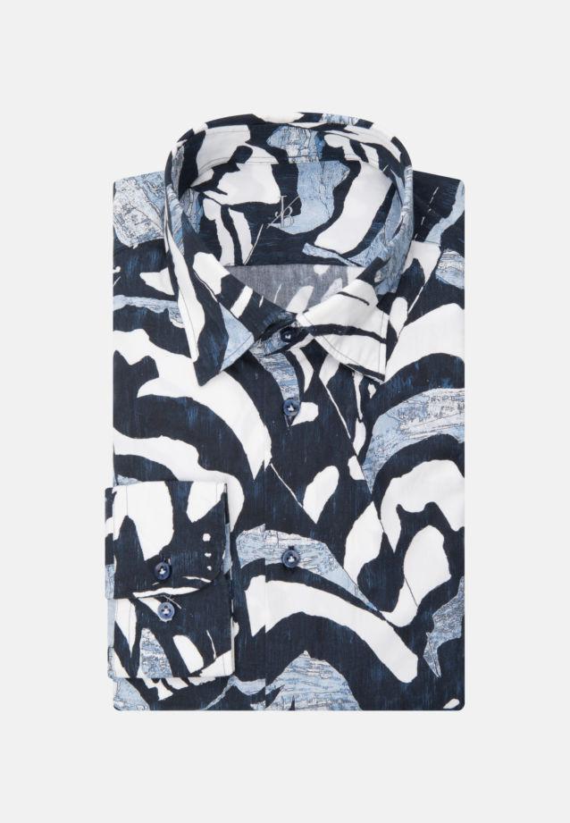 Popeline Smart Casual Hemd in Perfect Fit mit Under-Button-Down-Kragen in Dunkelblau |  Jacques Britt Onlineshop