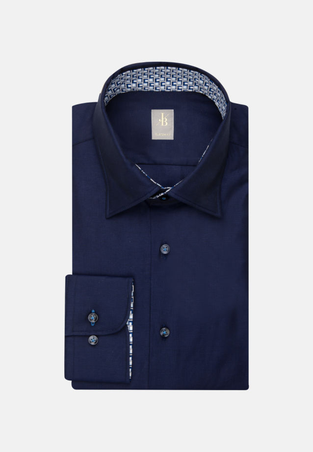 Struktur Business Hemd in Custom Fit mit Under-Button-Down-Kragen in Dunkelblau |  Jacques Britt Onlineshop