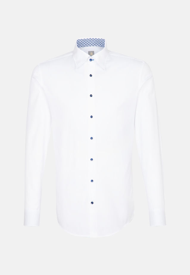 Struktur Business Hemd in Custom Fit mit Under-Button-Down-Kragen in Weiß |  Jacques Britt Onlineshop
