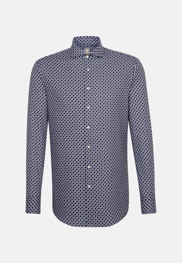 Twill Business Hemd in Custom Fit mit Haifischkragen in Dunkelblau |  Jacques Britt Onlineshop