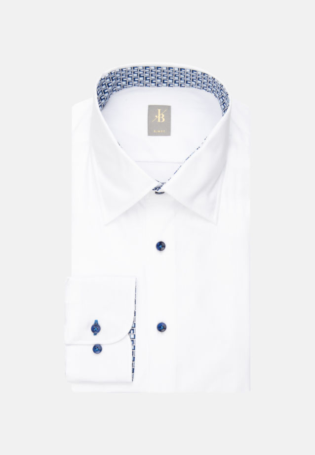 Struktur Business Hemd in Slim Fit mit Under-Button-Down-Kragen in Weiß |  Jacques Britt Onlineshop