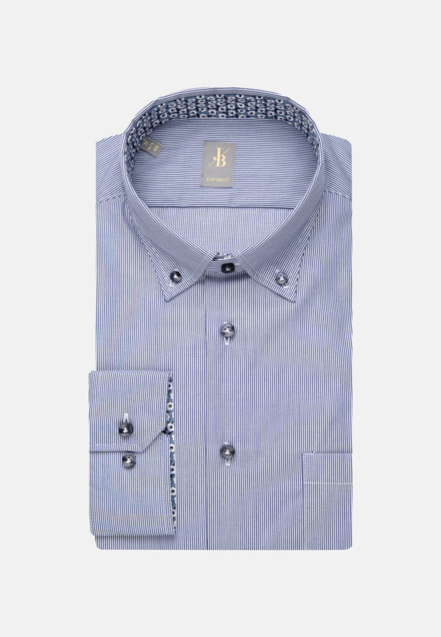 Twill Business Hemd in Custom Fit mit Button-Down-Kragen in Mittelblau |  Jacques Britt Onlineshop