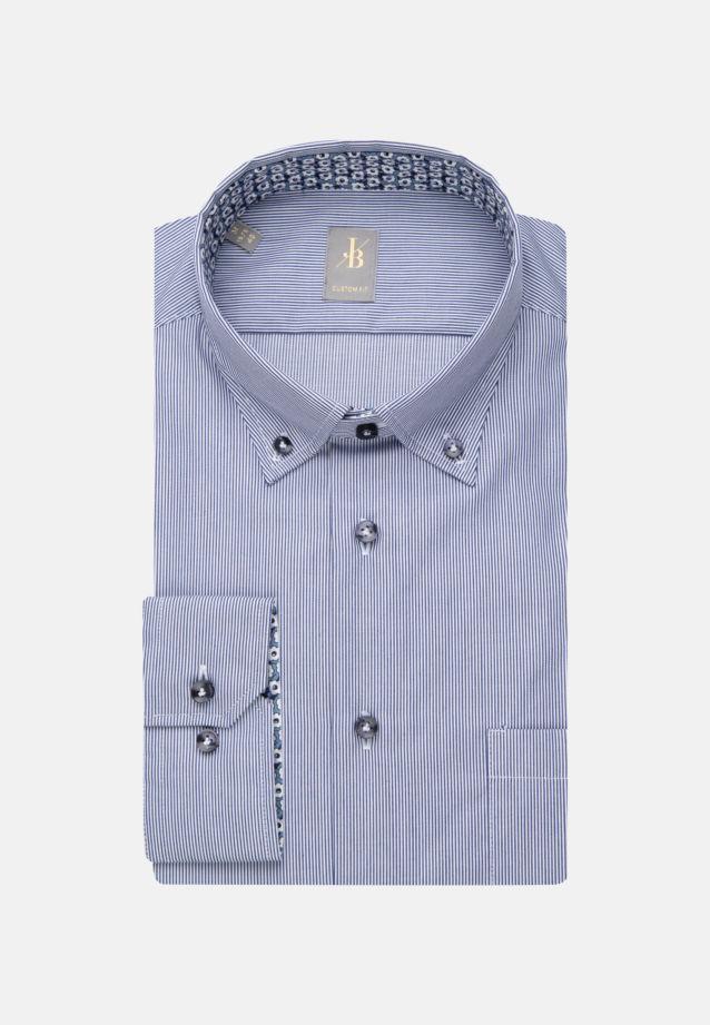 Twill Business Hemd in Custom Fit mit Button-Down-Kragen in Mittelblau |  Jacques Britt Onlineshop