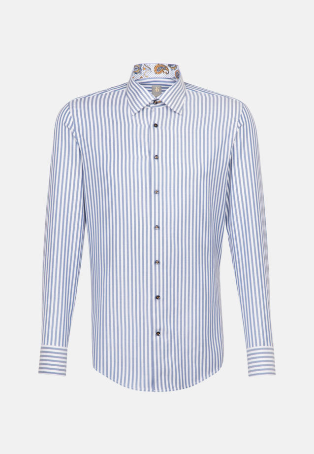 Twill Business Hemd in Slim Fit mit Under-Button-Down-Kragen in Mittelblau |  Jacques Britt Onlineshop