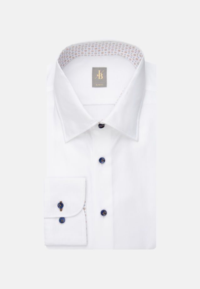 Twill Business Hemd in Slim Fit mit Under-Button-Down-Kragen in Weiß |  Jacques Britt Onlineshop