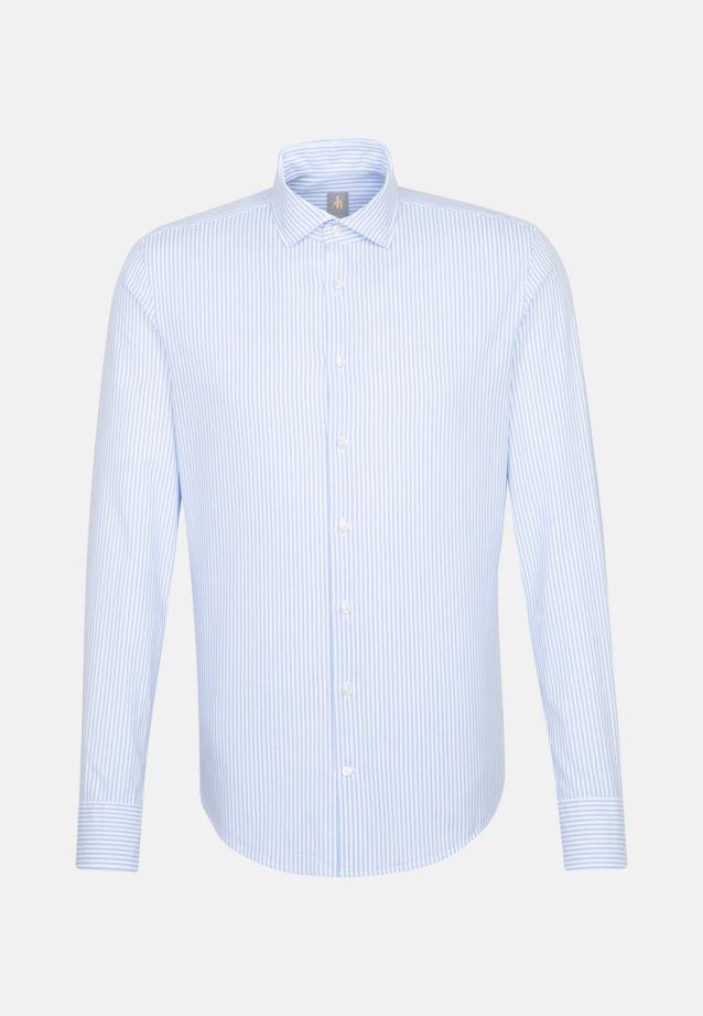Oxford Smart Casual Hemd in Slim Fit mit Haifischkragen in Mittelblau |  Jacques Britt Onlineshop