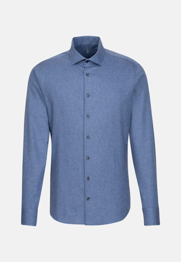 Melange Garne Smart Casual Hemd in Perfect Fit mit Haifischkragen in Mittelblau |  Jacques Britt Onlineshop