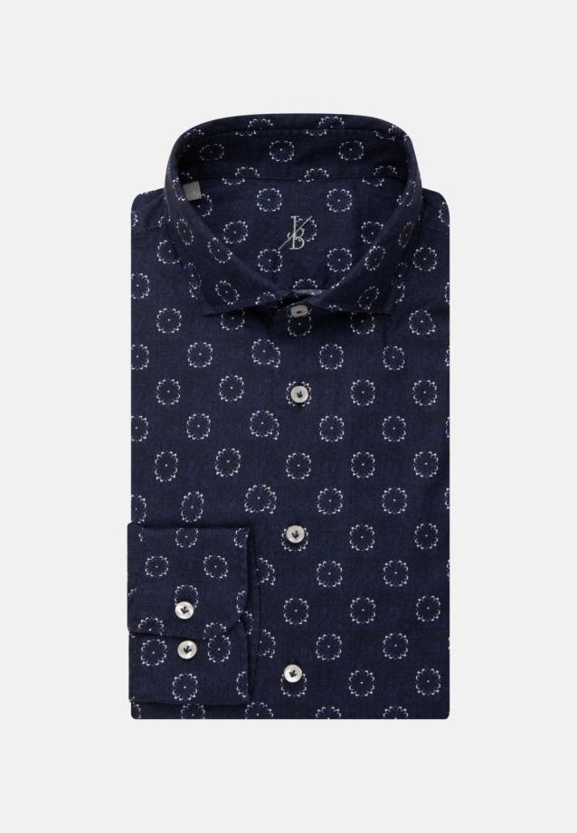 Popeline Smart Casual Hemd in Perfect Fit mit Haifischkragen in Mittelblau |  Jacques Britt Onlineshop
