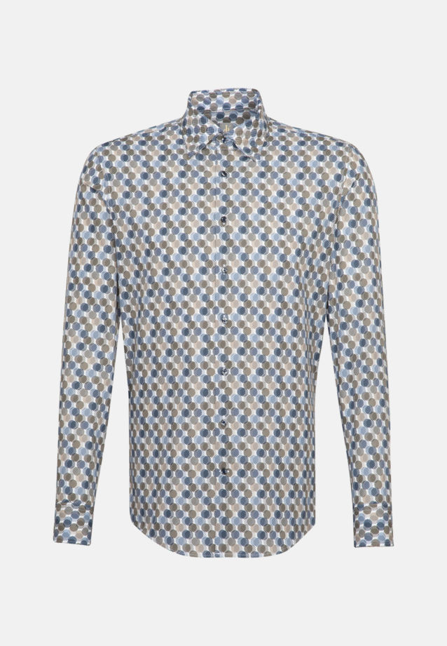 Popeline Business Hemd in Slim Fit mit Under-Button-Down-Kragen in Braun |  Jacques Britt Onlineshop