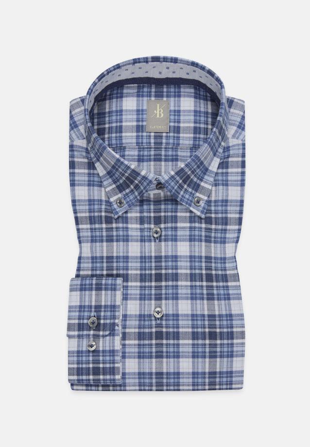 Melange Garne Smart Casual Hemd in Custom Fit mit Button-Down-Kragen in Mittelblau |  Jacques Britt Onlineshop