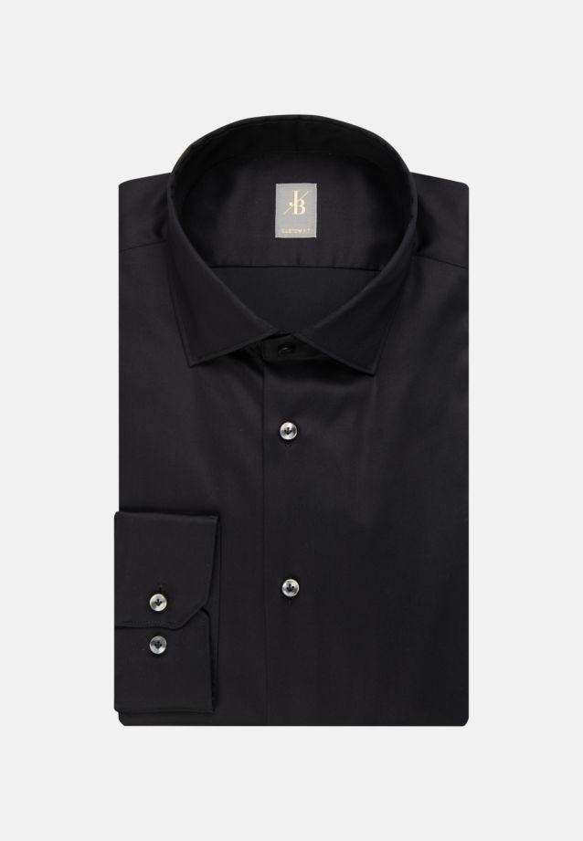 Satin Business Hemd in Custom Fit mit Kentkragen und extra langem Arm in Schwarz |  Jacques Britt Onlineshop