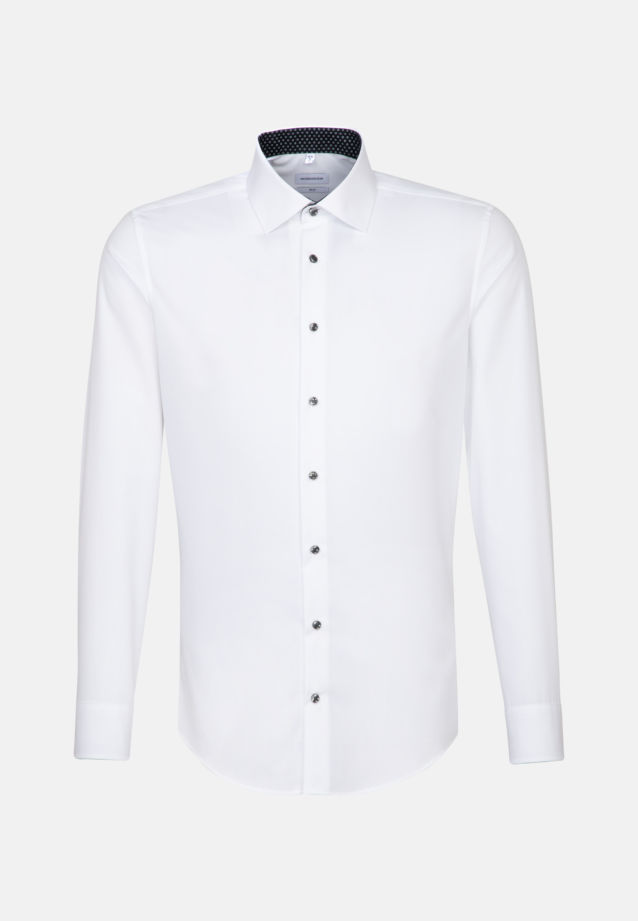 Bügelfreies Fil a fil Business Hemd in Slim mit Kentkragen in Weiß |  Jacques Britt Onlineshop