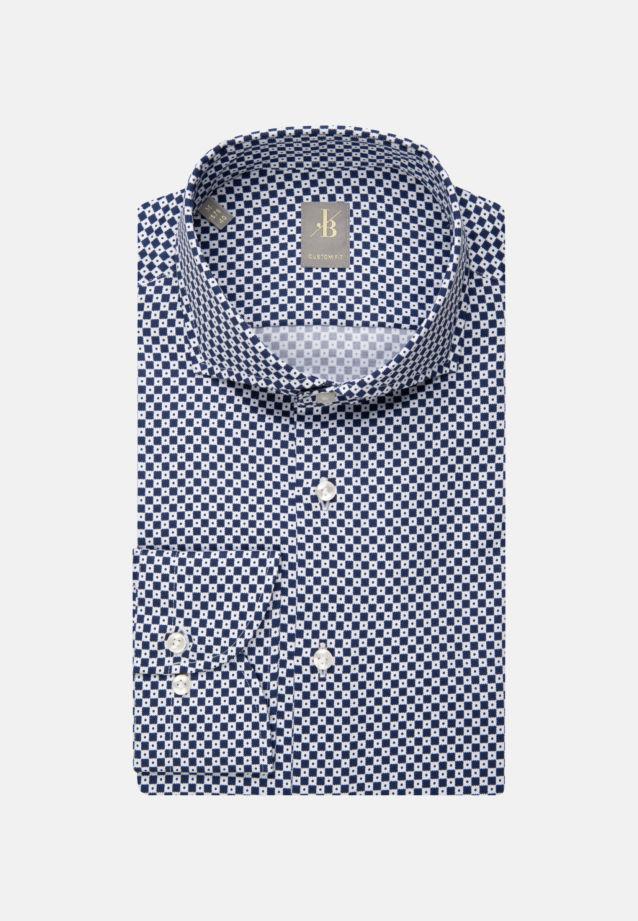 Satin Business Hemd in Custom Fit mit Haifischkragen in Mittelblau |  Jacques Britt Onlineshop