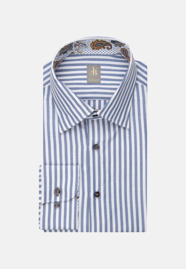 Twill Business Hemd in Custom Fit mit Under-Button-Down-Kragen und extra langem Arm in Mittelblau |  Jacques Britt Onlineshop