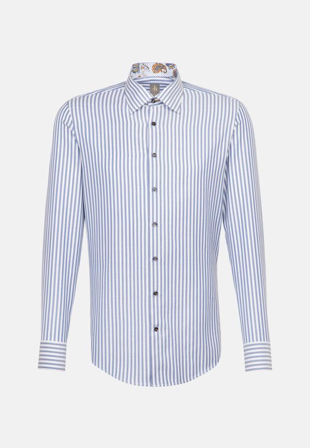 Twill Business Hemd in Custom Fit mit Under-Button-Down-Kragen und extra langem Arm in Mittelblau    Jacques Britt Onlineshop