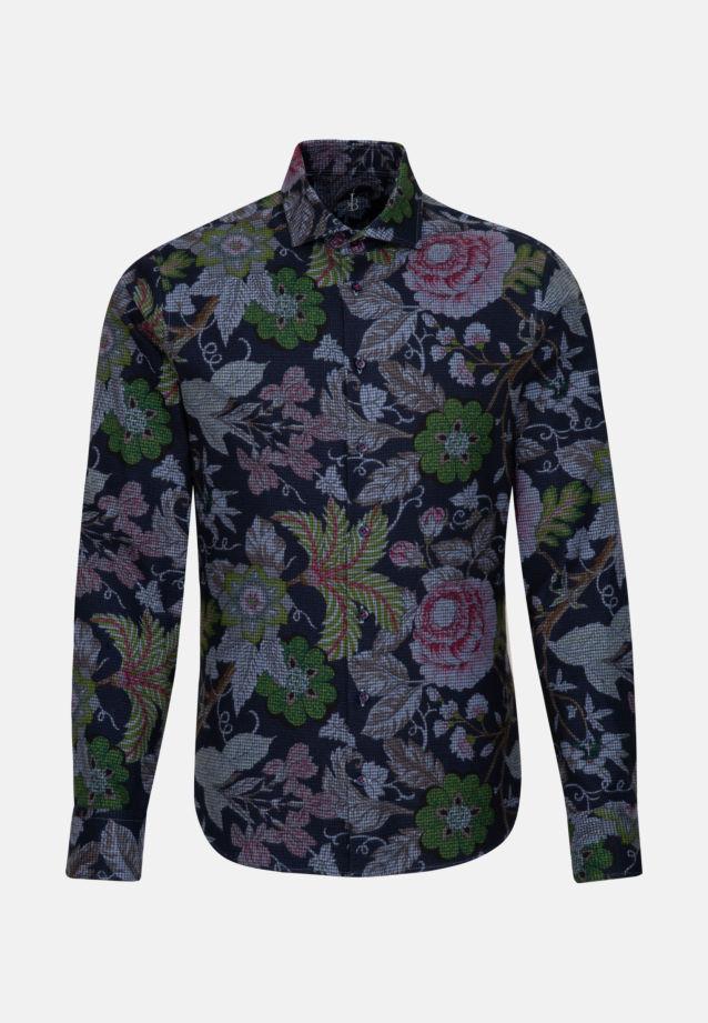Flanell Smart Casual Hemd in Perfect Fit mit Haifischkragen in Mittelblau |  Jacques Britt Onlineshop