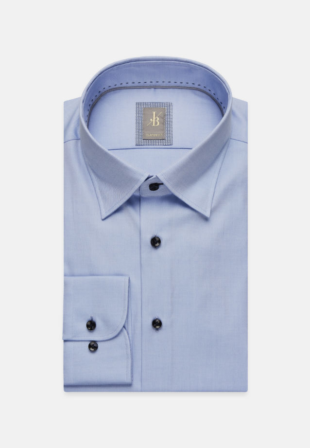 Twill Business Hemd in Custom Fit mit Under-Button-Down-Kragen in Hellblau |  Jacques Britt Onlineshop