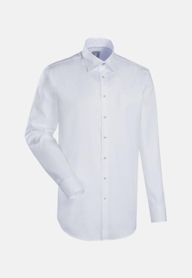 Twill Business Hemd in Slim Fit mit Under-Button-Down-Kragen in Weiß |  Jacques Britt Onlineshop
