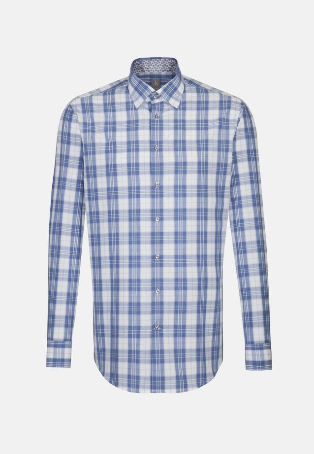 Melange Garne Business Hemd in Custom Fit mit Under-Button-Down-Kragen in Mittelblau |  Jacques Britt Onlineshop