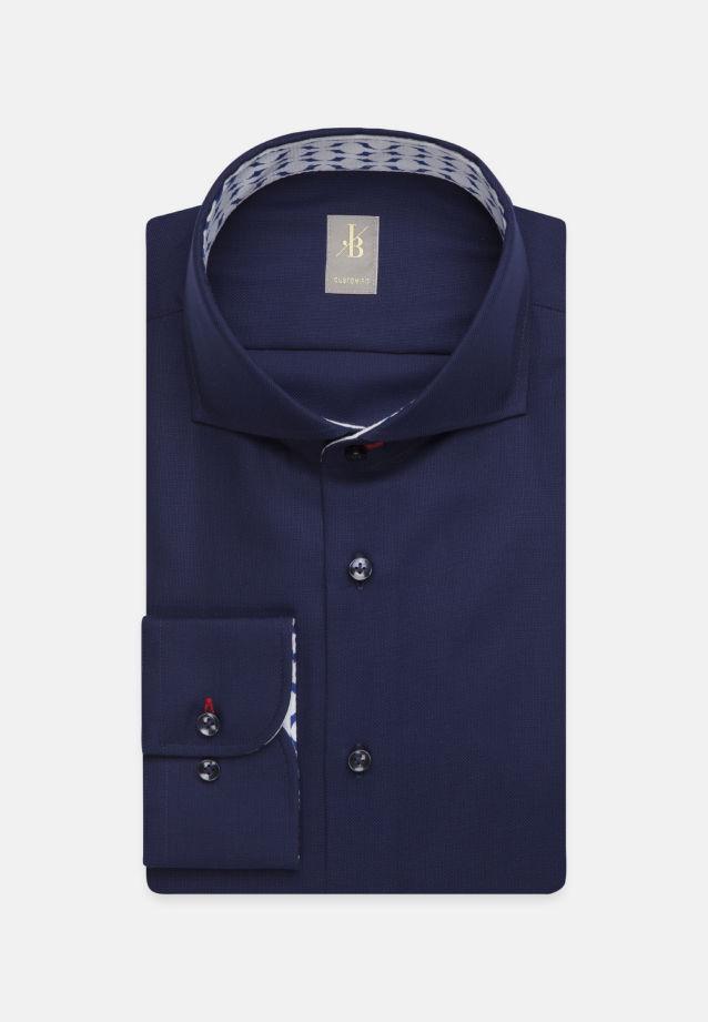 Struktur Business Hemd in Custom Fit mit Haifischkragen und extra langem Arm in Dunkelblau |  Jacques Britt Onlineshop