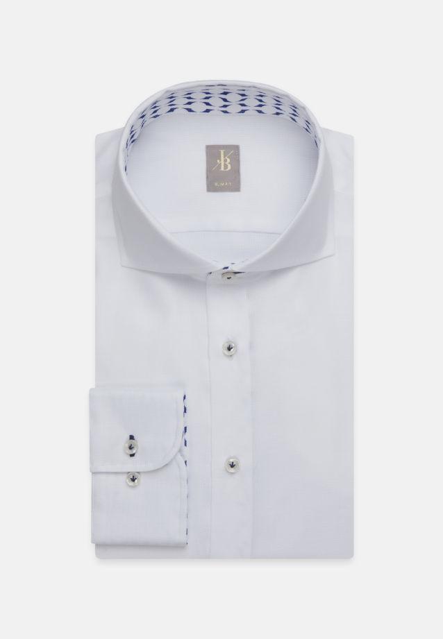 Struktur Business Hemd in Slim Fit mit Haifischkragen und extra langem Arm in Weiß |  Jacques Britt Onlineshop