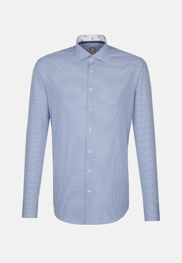 Popeline Smart Casual Hemd in Slim Fit mit Haifischkragen in Mittelblau |  Jacques Britt Onlineshop