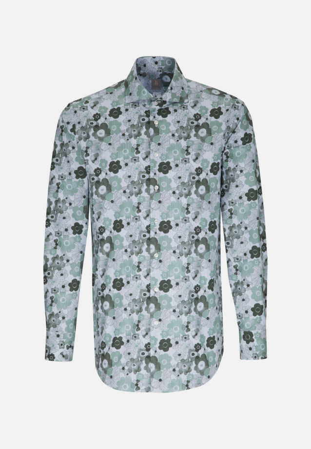 Popeline Business Hemd in Custom Fit mit Haifischkragen in Grün |  Jacques Britt Onlineshop