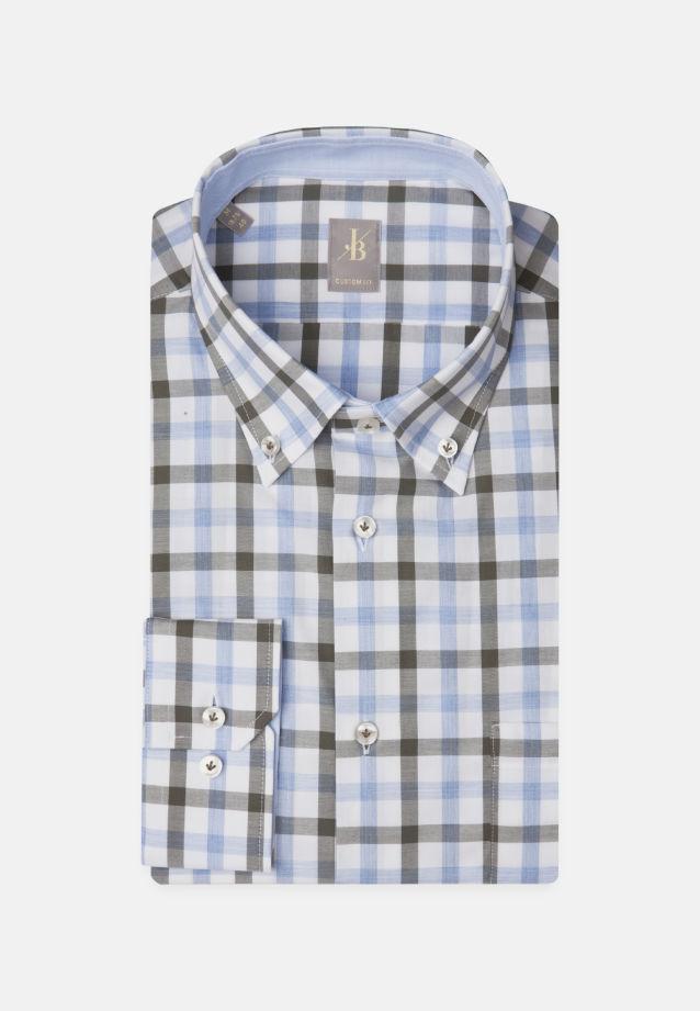 Twill Business Hemd in Custom Fit mit Button-Down-Kragen in Grün |  Jacques Britt Onlineshop