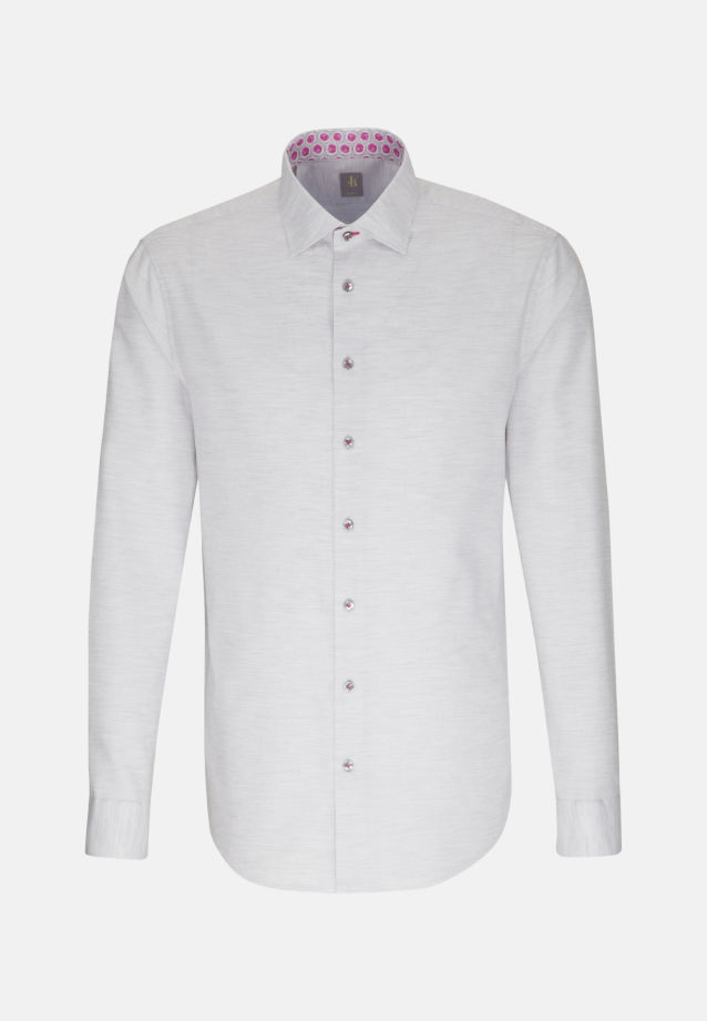 Struktur Smart Casual Hemd in Slim Fit mit Kentkragen in Grau |  Jacques Britt Onlineshop