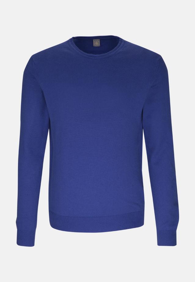 Rundhals Pullover aus 90% Baumwolle 10% Kaschmir in Mittelblau |  Jacques Britt Onlineshop