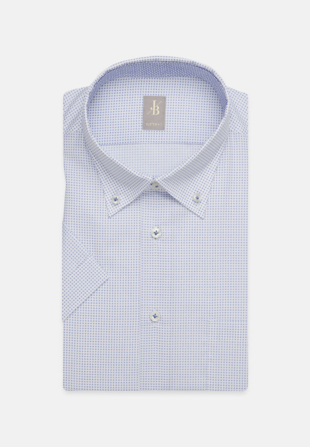 Kurzarm Popeline Business Hemd in Custom Fit mit Button-Down-Kragen in Hellblau    Jacques Britt Onlineshop