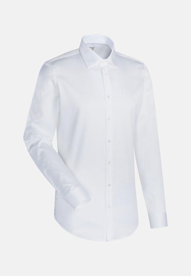 Satin Business Hemd in Slim Fit mit Kentkragen und extra langem Arm in Weiß |  Jacques Britt Onlineshop
