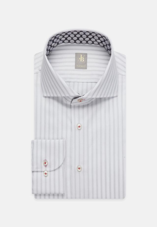 Twill Business Hemd in Custom Fit mit Haifischkragen in Grau |  Jacques Britt Onlineshop