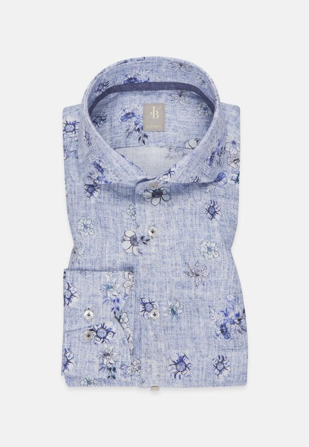 Leinen Smart Casual Hemd in Custom Fit mit Haifischkragen in Mittelblau |  Jacques Britt Onlineshop